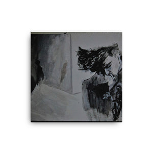 A black and white canvas print of Chance Rovski's masterpiece, Rejection Reflection. A sullen smoker on the right side of a room. Stylized like a 1940 beatnick homage, it was painted with such talent, many originally believe that it is charcoal on paper, but alas, it is not. This print is square in shape.
