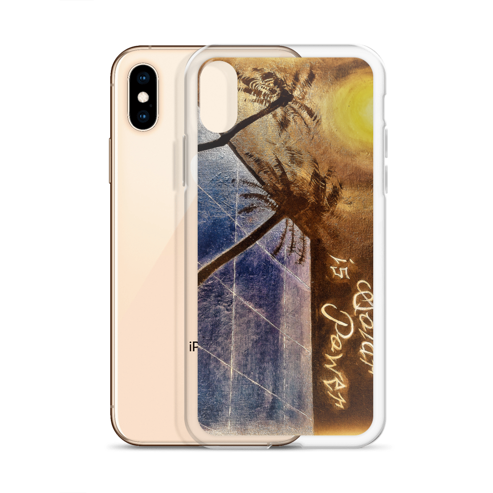 A night sky background illuminated by the moon, reflects light to a blue solar panel is depicted on this protective iphone case. Upper right corner reads