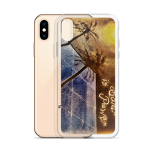 "A night sky background illuminated by the moon, reflects light to a blue solar panel is depicted on this protective iphone case. Upper right corner reads ""Puertorequenos, Solar is Power"". Painted by artist Chance Rovski."