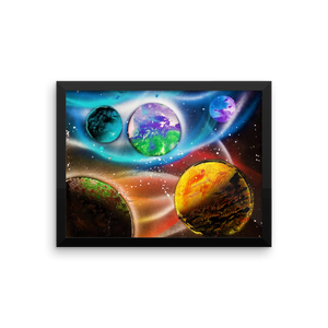 What appears to be a life bearing planet, due to its green and blue hue, sits center of this spray paint masterpiece featuring a view of 5 planets on a star littered black background. Wrapped around the edges is a black and rectangular frame.