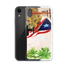 "The Puerto Rican flag, palm trees, and a jibador are seen amungst the ruins left by Hurricane Maria. A print on this protective iPhone case of Chance Rovski's painting. ""Trabajo en la Isla del Encanto"" is featured. Power to P. R. Corp."