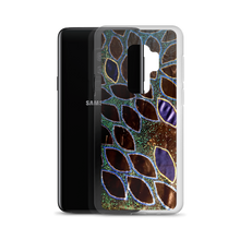 "A Smartphonecase featuring an image of Victor Allen's ""Boats of Bio Bay"" Which is a regular repeating pattern of sharp ovals on a black background. Green, Blue, gold, and silver are featured as dots throughout."
