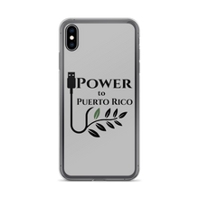 A gray iPhone case for XS Max printed with Power To Puerto Rico Logo