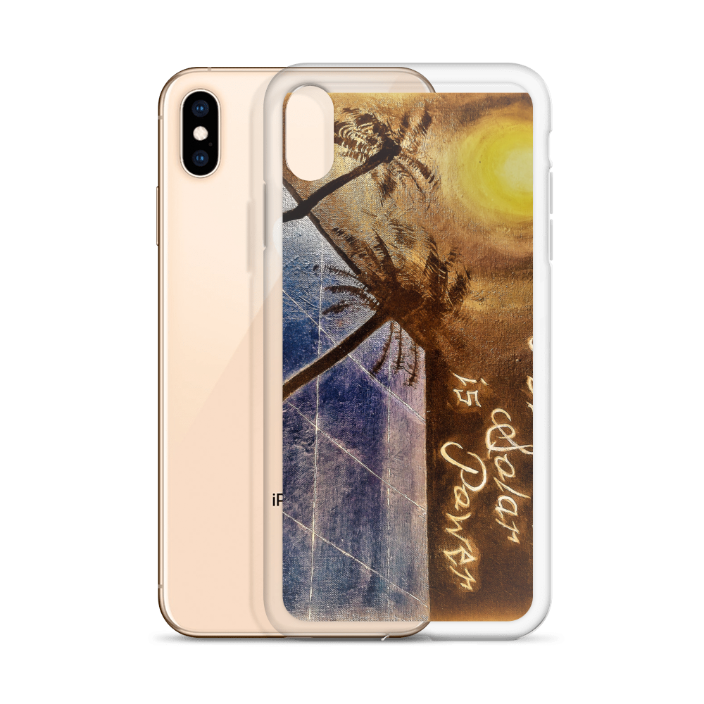 A night sky background illuminated by the moon, reflects light to a blue solar panel is depicted vertically on this protective iphone case.
