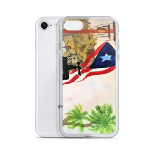 "The Puerto Rican flag, palm trees, and a jibador are seen amungst the ruins left by Hurricane Maria. A print on this protective iPhone case of Chance Rovski's painting. ""Trabajo en la Isla del Encanto"" is featured. Solar saves in many ways."