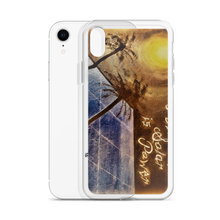 "A night sky background illuminated by the moon, reflects light to a blue solar panel is depicted vertically on this protective iphone case. ""Sleeping Solar, Sunless Power"". Painted by industry expert and artist Chance Rovski."