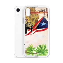 "A print on this protective iPhone case of Chance Rovski's painting ""Trabajo en la Isla del Encanto"". The Puerto Rican flag, palm trees, and a jibador are seen amungst the ruins left by Hurricane Maria."