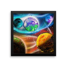 What appears to be a life bearing planet, due to its green and blue hue, sits center of this spray paint masterpiece featuring a view of 5 planets on a star littered black background. Wrapped around the edges is a square black frame.