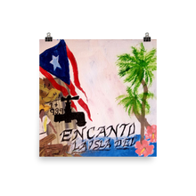 "This print on a square of poster paper. The Puerto Rican flag blows above wreckage left of a village in Puerto Rico. An electric power line still stands with it's wires broken and dangling. Two palm trees and two pink flowers bloom next to script reading ""La Isla Del Encanto""."