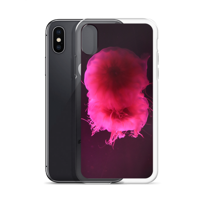 Imagine a sleek shiny iPhone case with a picture of a neon bright pink circular pair of jellyfish floating in a dark gray and black background.  A First Edition original with photo by Andrew Aaron.