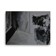 A black and white canvas print of Chance Rovski's masterpiece, Rejection Reflection. A sullen smoker on the right side of a room. Stylized like a 1940 beatnick homage, it was painted with such talent, many originally believe that it is charcoal on paper, but alas, it is not. This print is a rectangle laying horizontal in shape.