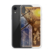 "A night sky background illuminated by the moon, reflects light to a blue solar panel is depicted on this protective iphone case. Upper right corner reads ""Puertorequenos, Solar is Power"". Painted by artist Chance Rovski. This picture was manipulated by camera tools to resemble sepia tones."