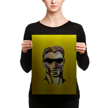 A model displaying a print of a tall rectangular portrait of a man with a yellow background and wells of emotion leaking from his eyes.