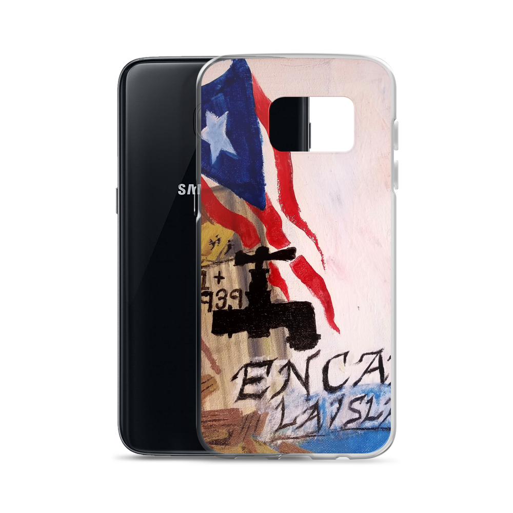 On the back of this Samsung cellphone protective case, the Puerto Rican flag blows above wreckage left of a village in Puerto Rico. An electric power line still stands with it's wires broken and dangling. Two palm trees and two pink flowers bloom next to script reading