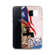 "On the back of this Samsung cellphone protective case, the Puerto Rican flag blows above wreckage left of a village in Puerto Rico. An electric power line still stands with it's wires broken and dangling. Two palm trees and two pink flowers bloom next to script reading ""La Isla Del Encanto""."