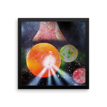 A scene of planetary chaos unfolds in a black framed square as one of three planets has an eruption on its red surface mimicking a solar flare or volcano. A mysterious object, a red planet, and a green/blue planet look on from the background.