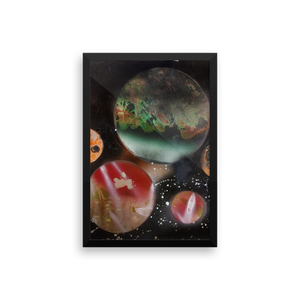 This vertically rectangular spray paint picture has a black frame and portrays planets in a ring- five in total. The largest in the back center resembles Earth in color scheme, while the rest are shades of red and orange.