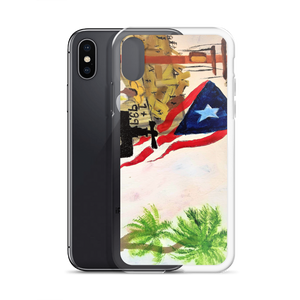 "The Puerto Rican flag, palm trees, and a jibador are seen in the campo amungst ruin left by Hurricane Maria. A print on this iPhone case of Chance Rovski's painting. ""Trabajo en la Isla del Encanto"" is featured. Solar saves in many ways. Power To P. R. Corp."