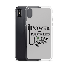iPhone case next to iPhone X or iPhone XS with black Power To Puerto Rico Logo