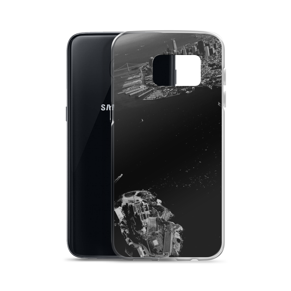 So this Samsung smartphone appears beneath a cool, luxurious cover for its own protection featuring the San Francisco Bay Area and the island prison of Alcatraz.