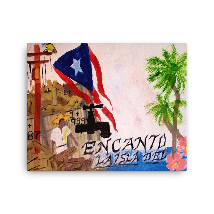 This canvas print is oriented horizontally and is a rectangle. The Puerto Rican flag blows above wreckage left of a village in Puerto Rico. An electric power line still stands with it's wires broken and dangling. Two palm trees and two pink flowers bloom next to script reading