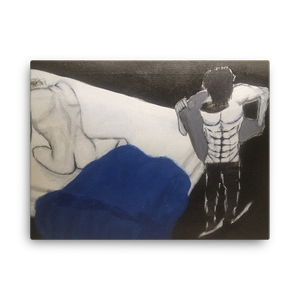 This horizontally rectangular Chance Rovski print portrays a man on a bed, presumably nude with his back towards you while on the right side,  an anime character get ready to go to work in the rain.