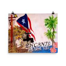 "This print on poster paper is oriented horizontally and is a rectangle. The Puerto Rican flag blows above wreckage left of a village in Puerto Rico. An electric power line still stands with it's wires broken and dangling. Two palm trees and two pink flowers bloom next to script reading ""La Isla Del Encanto""."