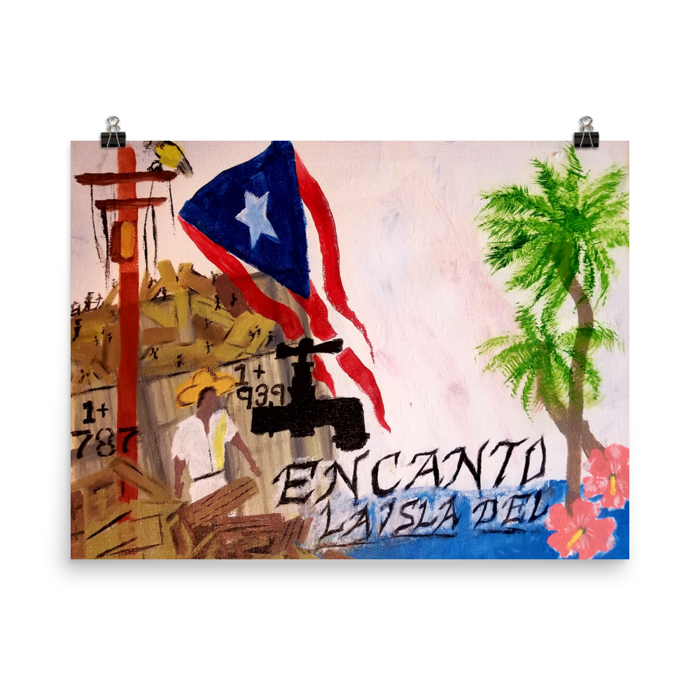This print on poster paper is oriented horizontally and is a rectangle. The Puerto Rican flag blows above wreckage left of a village in Puerto Rico. An electric power line still stands with it's wires broken and dangling. Two palm trees and two pink flowers bloom next to script reading