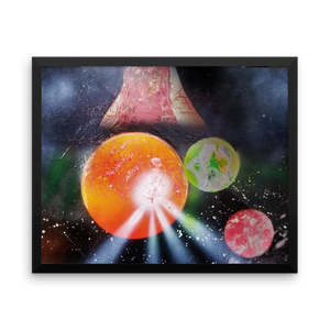A scene of planetary chaos unfolds in a black frame, horizontal rectangle as one of three planets has an eruption on its red surface mimicking a solar flare or volcano. A mysterious object, a red planet, and a green/blue planet look on from the background.