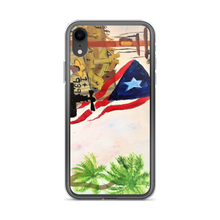 "The Puerto Rican flag, palm trees, and a jibador are seen amungst the ruins left by Hurricane Maria. A print on this protective iPhone case of Chance Rovski's painting. ""Trabajo en la Isla del Encanto"" is featured. Solar saves in many ways. Power To P. R. Corp."