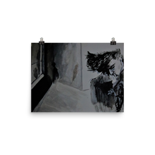 A black and white print of Chance Rovski's masterpiece of a sullen smoker on the right side of a room. Stylized like a 1940 beatnick homage, it was painted with such talent, many originally believe that it is charcoal on paper, but alas, it is not. This print is rectangular.