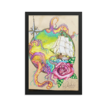 This vertically rectangular piece in a black frame, is a hand drawn show stopper. It contains a nautical theme with an octopus in the foreground so real, it appears lifelike. The background contains a sailing ship, waves, and a beautiful azul sky.