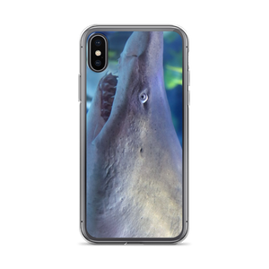 Imagine a sleek shiny iPhone case with a picture of the head of a shark from the side view.  it is greyish blue and textured with rows of jagged sharp teeth showing and a small beady eye.  A First Edition Original by Andrew Aaron.