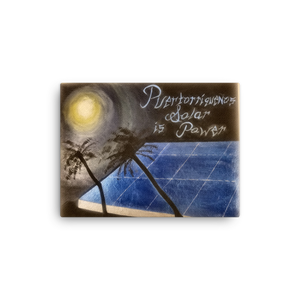"An acrylic painting with a night sky background is illuminated by the moon, which reflects light to a blue solar panel in the middle and silhouetted palm trees in the foreground. Upper right corner reads ""Puertorequenos, Solar is Power"". Painted by artist Chance Rovski"
