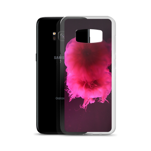 Imagine a sleek shiny Samsung smartphone case with a picture of a neon bright pink circular pair of jellyfish floating in a dark gray and black background.  A First Edition original with photo by Andrew Aaron.