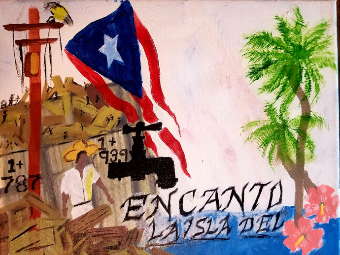 The Puerto Rican flag blows above wreckage left of a village in Puerto Rico. An electric power line still stands with it's wires broken and dangling. Two palm trees and two pink flowers bloom next to script reading