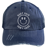 Boat Hair Don't Care Boating Hat Smiley Face Love Boating Sailing - getkentuckified