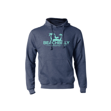 Beachbilly Lightweight Hoodie - Heather Navy with Teal Logo