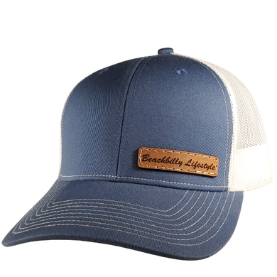 Leather Hand Written Patch Hat - Slate Blue