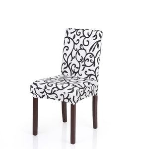 High Quality Stretch Removable Washable Short Dining Chair Cover Soft Milk Silk Spandex Printing