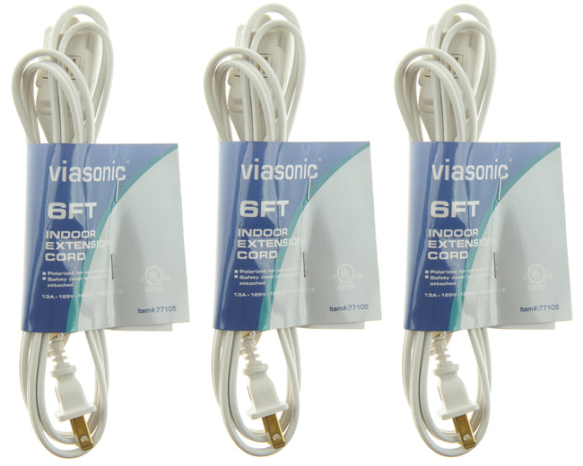 Viasonic Indoor Extension Cord - 3-Pack - 16 Gauge - 2 Prong - 6ft - 3-Outlet - UL-Listed