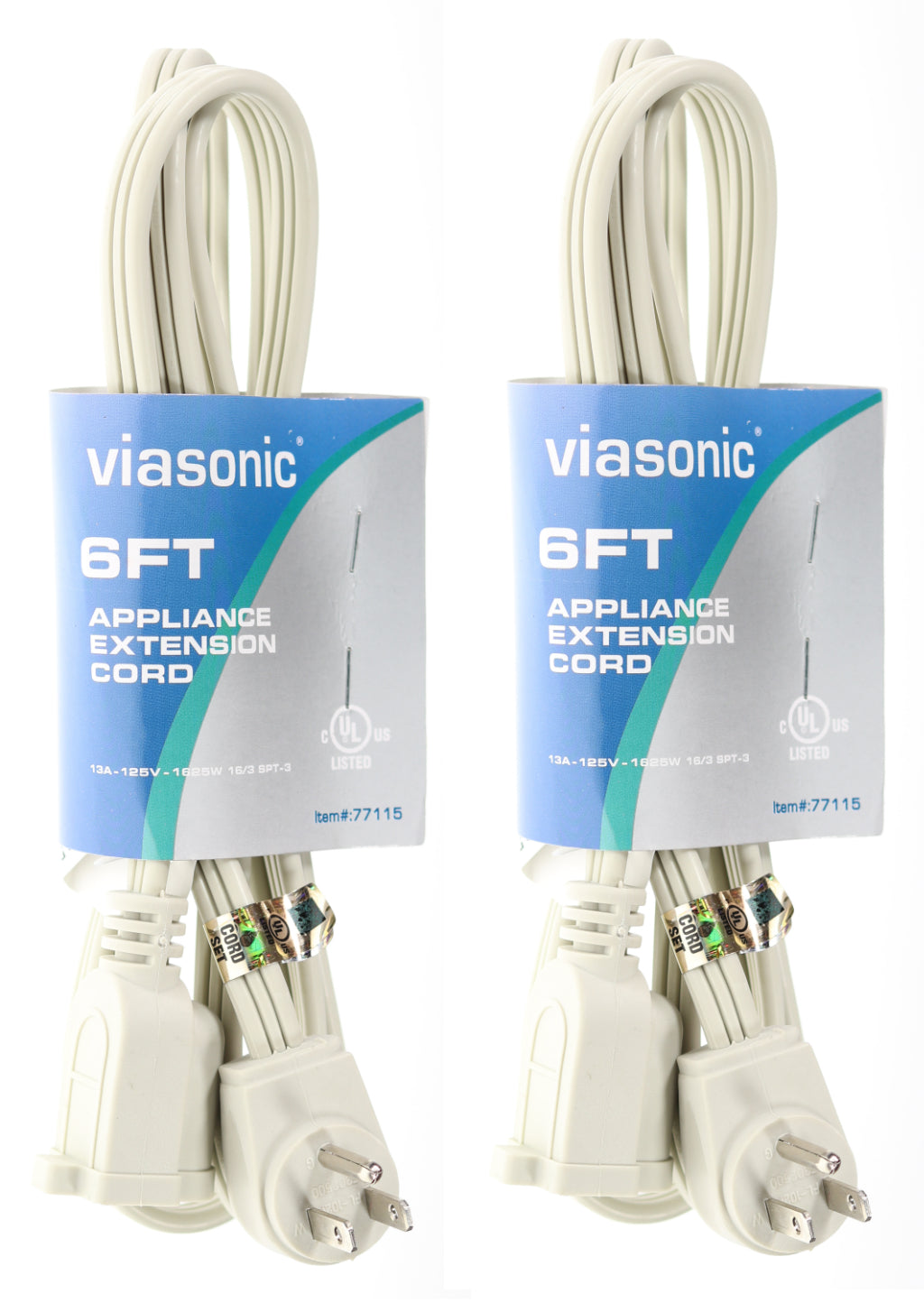 Viasonic Appliance Extension Cord - 2-Pack - 16 Gauge - 3 Prong - UL-Listed