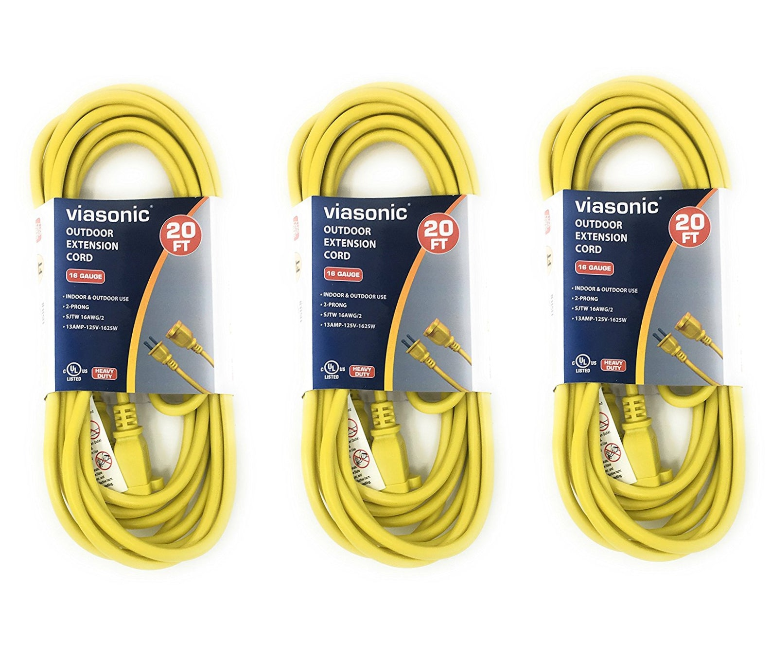Ext. Cord - 2 Prong - Yellow - 20ft - 3pk