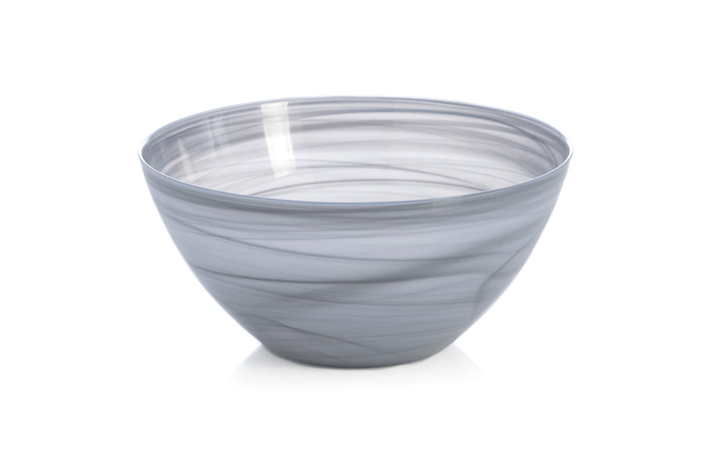 Large Alabaster Glass Bowl in Grey