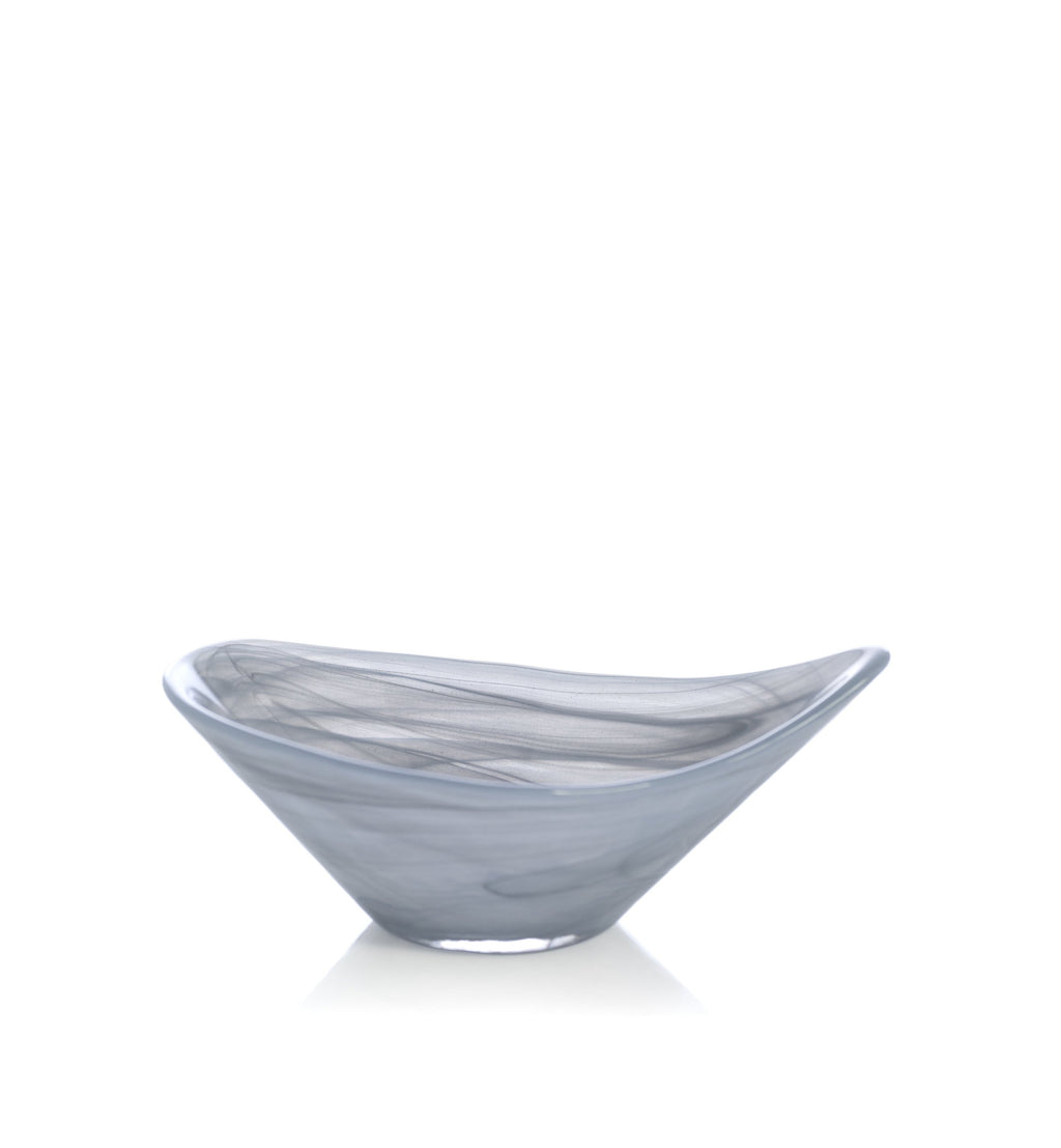 Small Alabaster Glass Dish in Grey