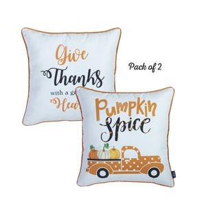 "Pumpkin Spice Square 18"" Throw Pillow Cover Set"