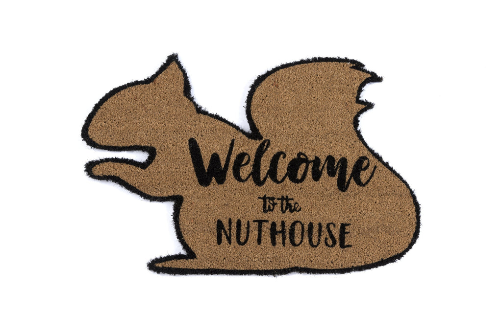 """WELCOME TO THE NUTHOUSE"" DOORMAT, NATURAL"