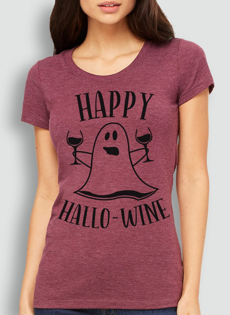 Happy HalloWine Ghost Short Sleeve Tee - Pick Color