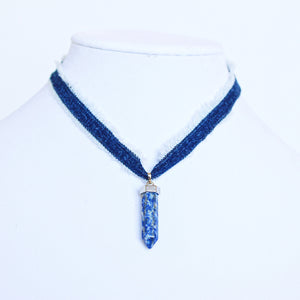 Kayla Recycled Denim Necklace with Blue Sodalite Pendant