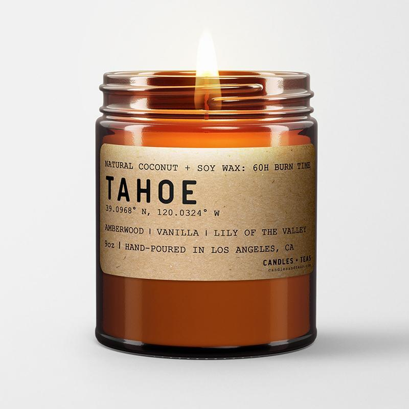 Lake Tahoe: California Scented Candle  (Amberwood, Mossy Wood, White